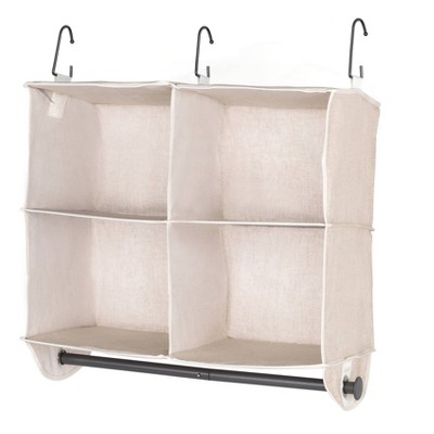 StorageWorks 2+2 Shelf Hanging Closet Organizer Beige