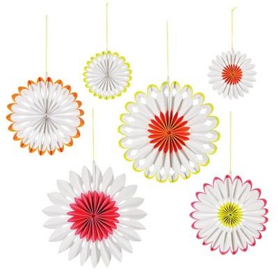 Meri Meri Neon Paper Fan – Party Decorations and Accessories – 6 Count
