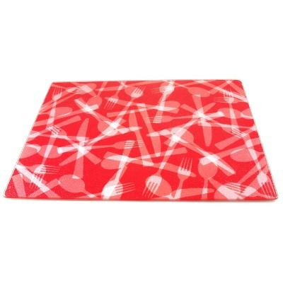 BigKitchen Strawberry Flatware Tempered Glass Rectangular Cutting Board, 12 x 15 Inch