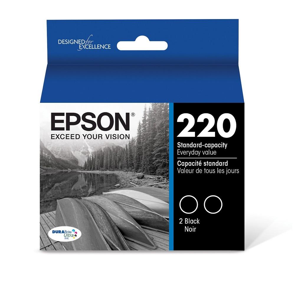 Ink Jet Cartridge Bla D2 T220120D2  Epson 220 2 Pack Genuine Epson T220120