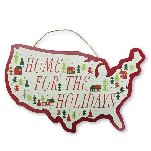 Home For The Holidays Wooden Map Sign - Wondershop™ - image 1 of 1