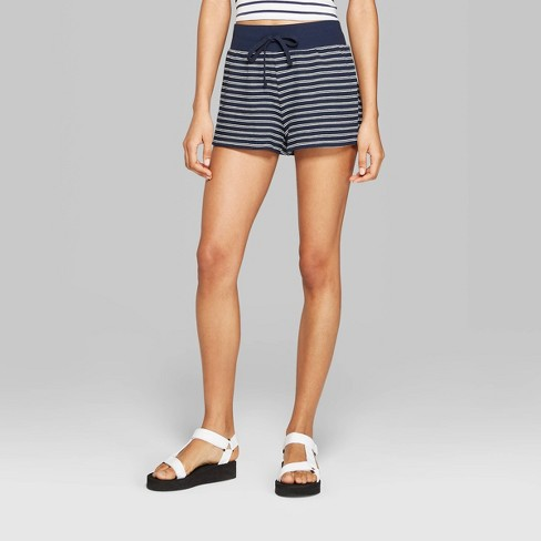 bec3f789cd Women's Striped High-Rise Terry Cloth Shorts - Wild Fable™ Blue