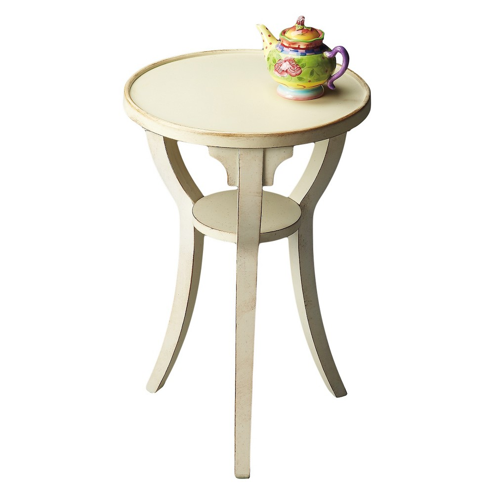 Dalton End Table Cottage White Round- Butler Specialty