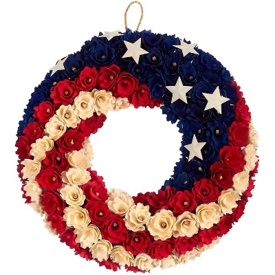 Juvale American Flag Design Floral Wreath, Door Decoration for Election Day (14 in)