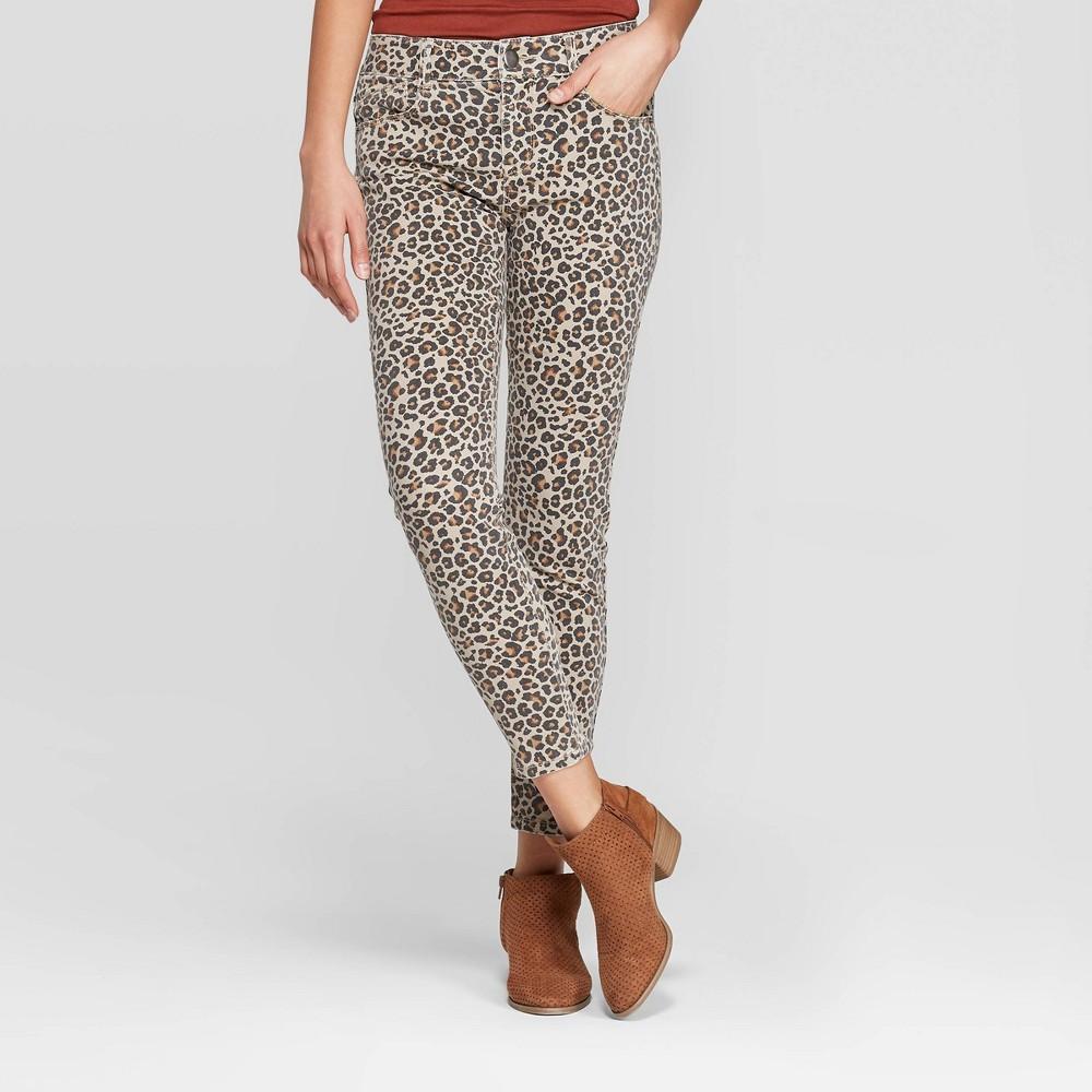 Women 39 S Leopard Print Mid Rise Skinny Pants Knox Rose 8482 Almond Tan 2