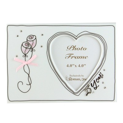 "Roman 4"" x 4"" Wedding 25th Anniversary Porcelain Photo Picture Frame - Silver"