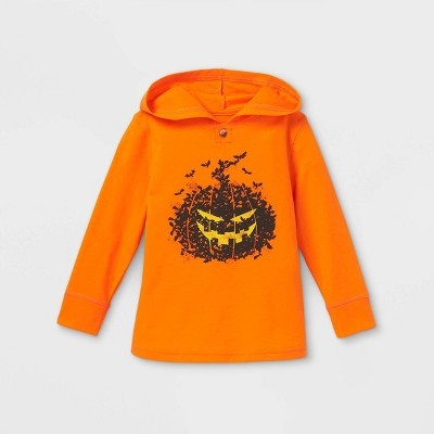 Toddler Boys' Halloween Pumpkin Jersey Knit Hooded Pullover T-Shirt - Cat & Jack™ Orange 2T