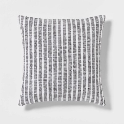 Woven Stripe Square Pillow Gray/White - Threshold™