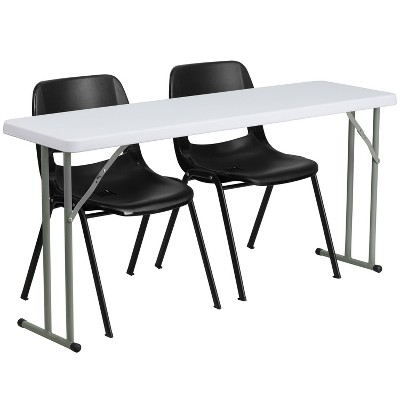 Flash Furniture 5-Foot Plastic Folding Training Table Set with 2 Black Plastic Stack Chairs