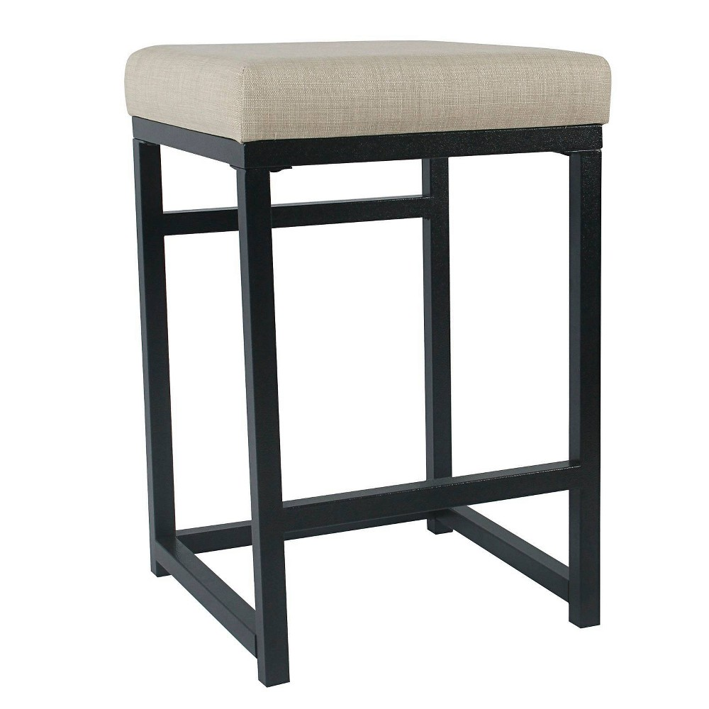 Open Back Metal Counter Height Barstool With Fabric Upholste Padded Seat Beige Black Benzara