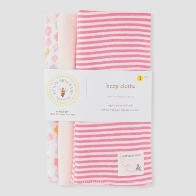 Burt's Bees Baby® Baby 3pk Medallion Burp Cloth Set - Pink