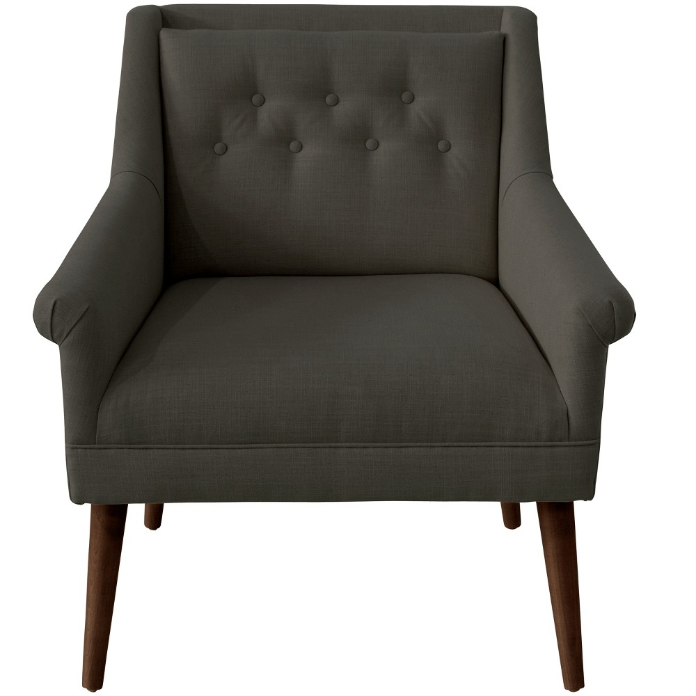 Hadley Button Tufted Chair Slate Linen - Cloth & Co.