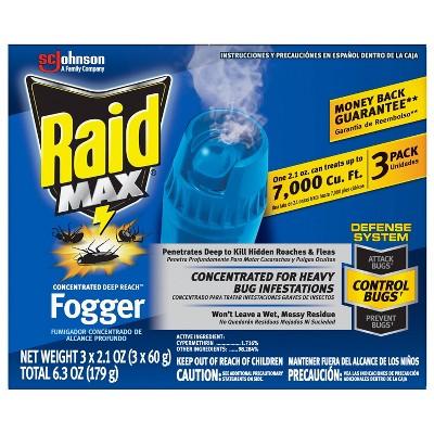 Raid Max Concentrated Deep Reach Fogger - 6.3oz/3ct
