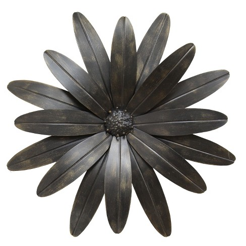 "Stratton Home Decor 18""x18"" Industrial Flower Decorative Wall Art Set Black - image 1 of 4"