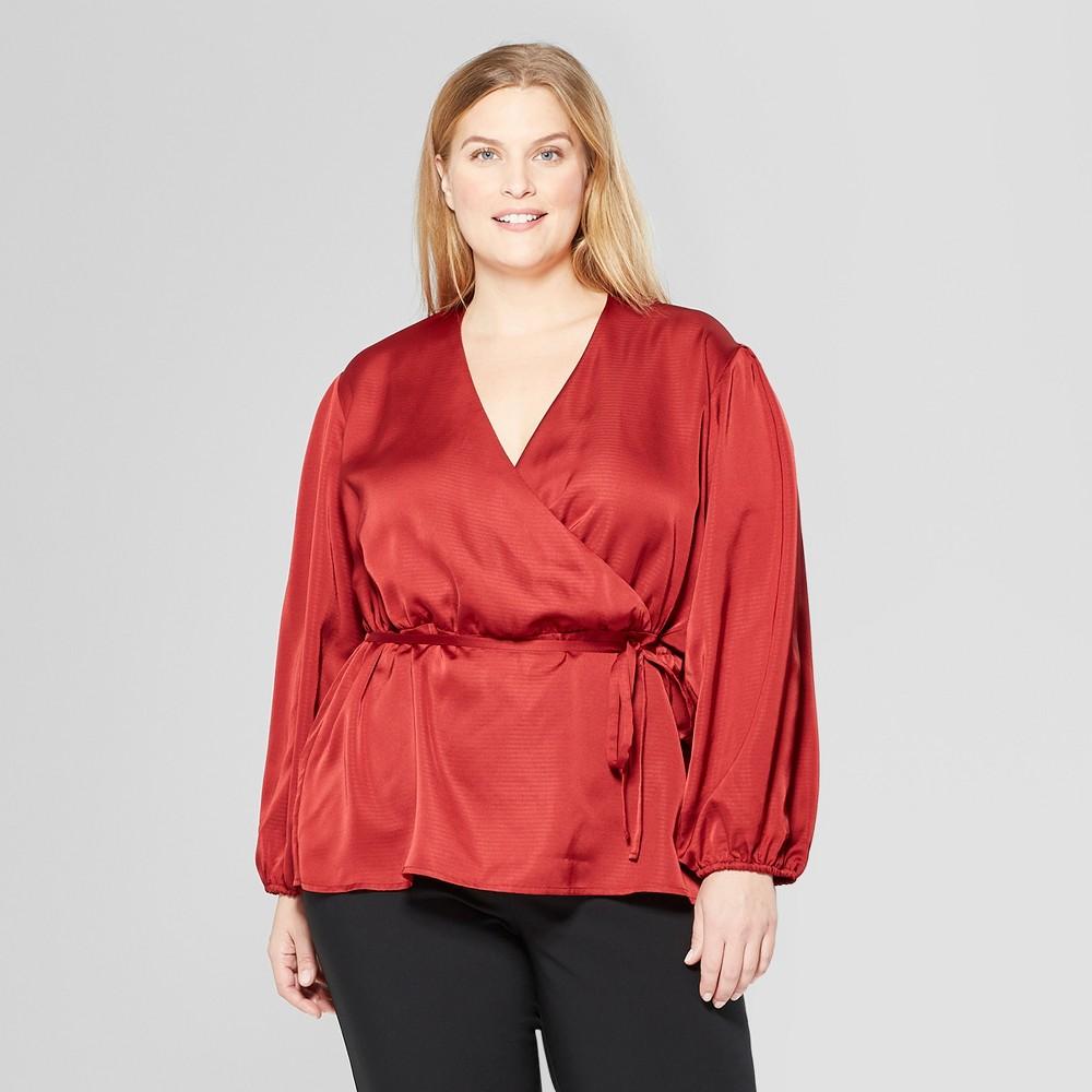 Women's Plus Size Long Sleeve Wrap Blouse - Prologue Red X
