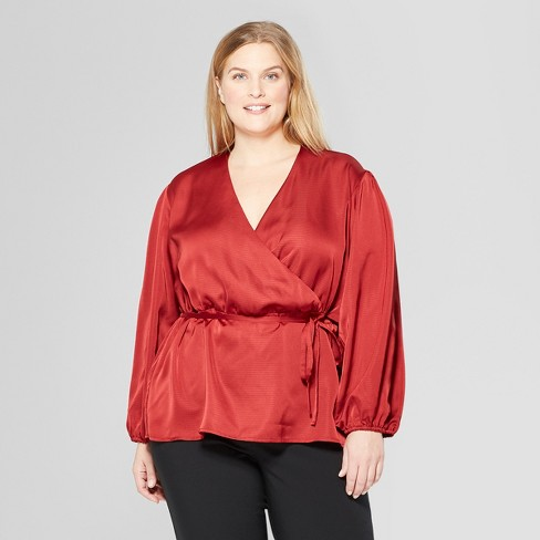 8489823445aa9f Women's Plus Size Long Sleeve Wrap Blouse - Prologue™ : Target