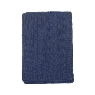 Kimberly Grant Cable Knit Blanket - Navy