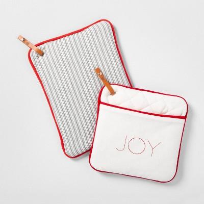 2pk Potholders Joy & Stripes - Hearth & Hand™ with Magnolia