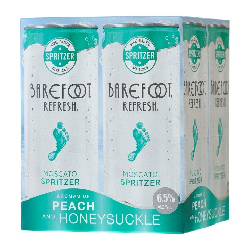 Barefoot Refresh Moscato Wine Spritzer 4pk 250ml Cans Target