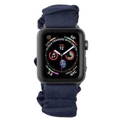 Insten Scrunchie Watch Band Compatible with Apple Watch Series SE 6 5 4 3 2 1 38mm 40mm, Elastic Fabric Wristband Strap, Fancy Bracelet,Dark Blue