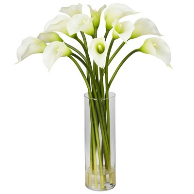 """20"""" x 15"""" Artificial Calla Lily Flower Plant Arrangement in Vase - Nearly Natural"""