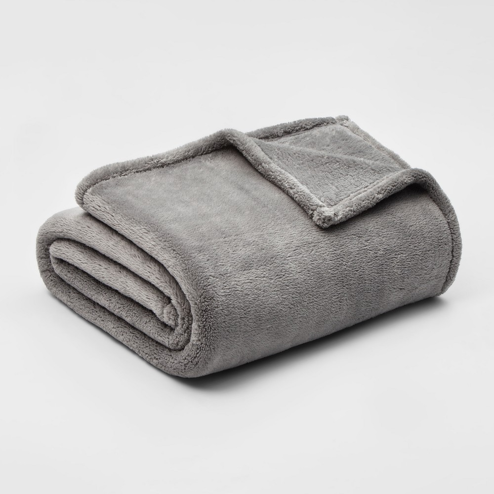 King Fuzzy Solid Blanket Classic Gray - Threshold