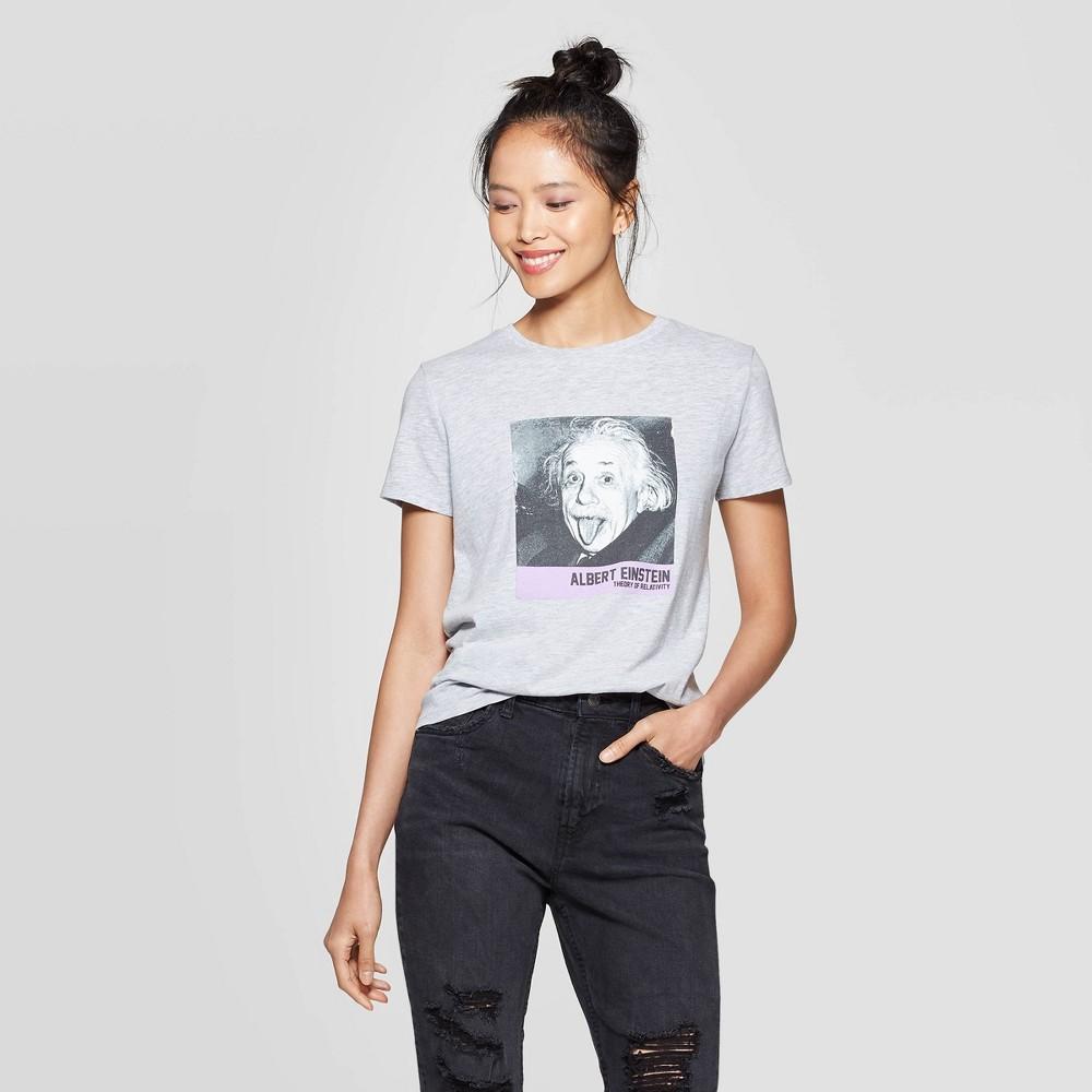 Image of Women's Albert Einstein Short Sleeve Graphic T-Shirt (Juniors') - Gray M, Size: Medium