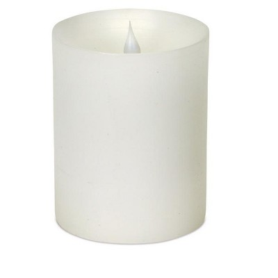 "Melrose 5.25"" Prelit LED Simplux Flameless Wax Pillar Candle with Moving Flame - White"