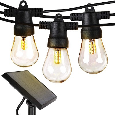 Brightech Ambience Pro Solar Power Outdoor String Lights with 15 Hanging Sockets & LED Edison Bulb for Outside Backyard Cafe Patio or Porch, 48 Foot