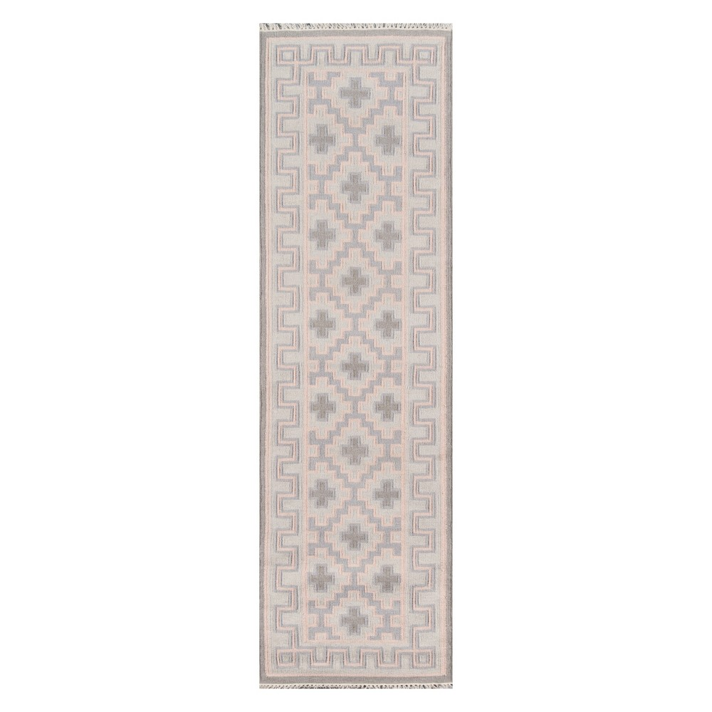 2'3X8' Geometric Woven Runner Pink - Erin Gates By Momeni