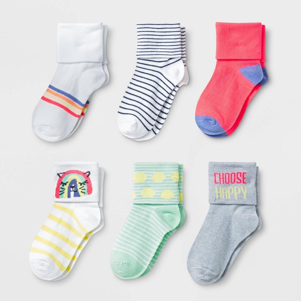 Image of Baby Girls' 6pk Folded Cuff Bobby Socks - Cat & Jack 12-24M, Toddler Girl's, MultiColored