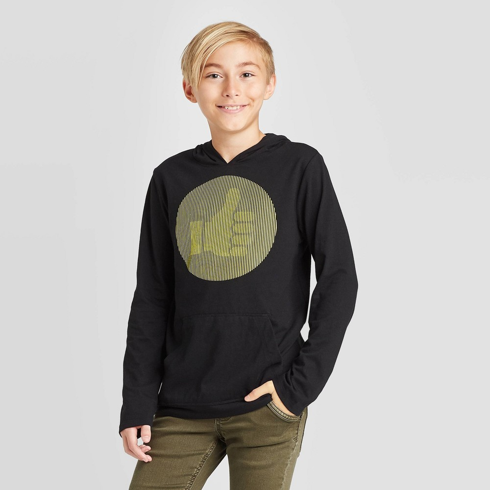 Image of Boys' Long Sleeve Hooded Interactive Graphic T-Shirt - Cat & Jack Black XS, Boy's