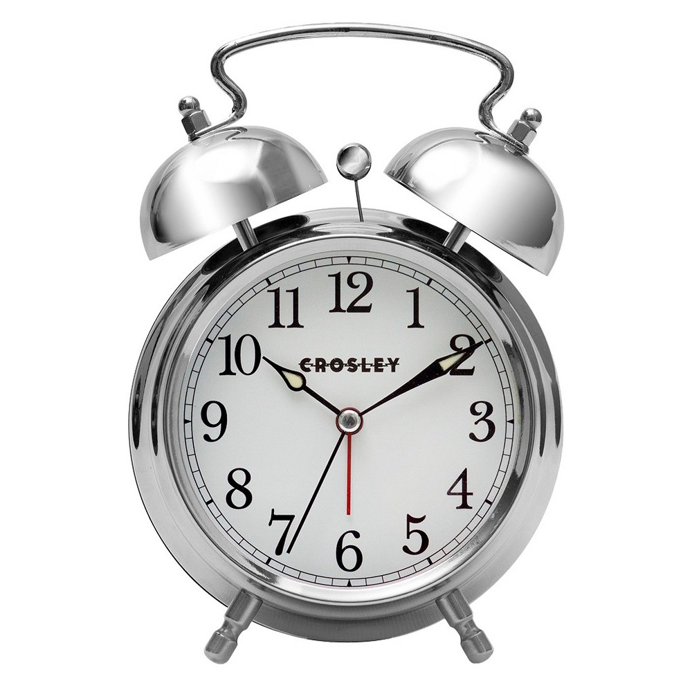 Image of Analog Alarm Clock Silver - Crosley