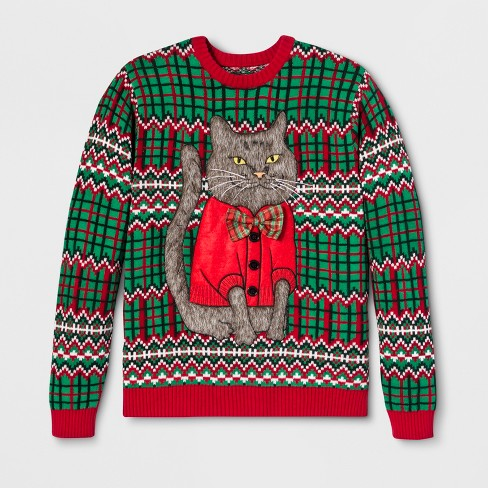 33 Degrees Mens Ugly Christmas Cat Bow Long Sleeve Pullover Sweater
