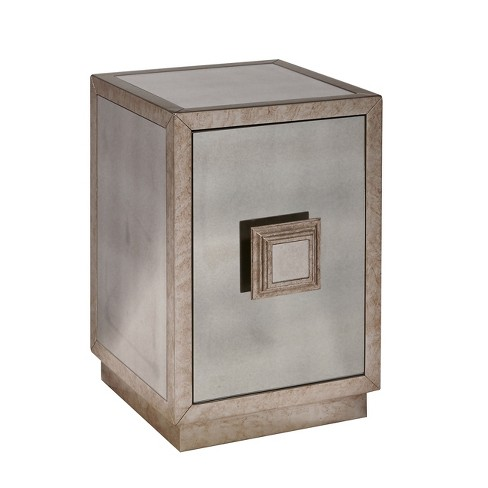 Vintage Glam Inspired Antique Mirror One Door Side Table Grey