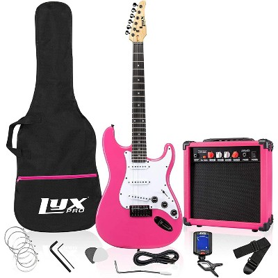 LyxPro 39'' inch Full Size Electric Guitar with 20w Amp, Package Includes All Accessories, Digital Tuner, Strings, Picks, Tremolo Bar, Shoulder Strap, and Case Bag Complete Beginner Starter kit - Pink