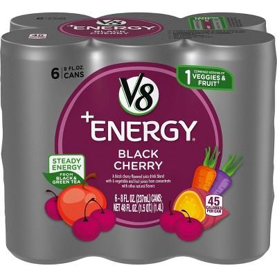 V8 V-Fusion +Energy Black Cherry Vegetable & Fruit Juice - 6pk/8 fl oz Cans