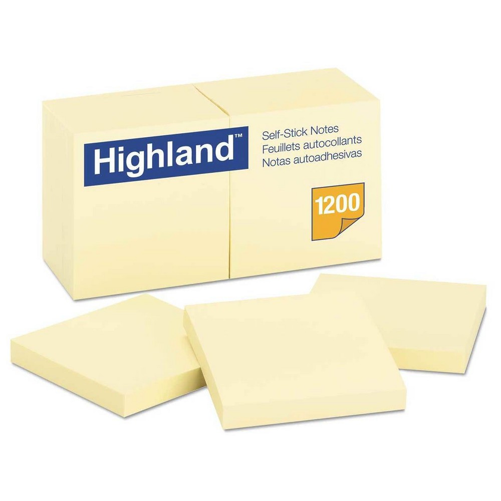 "Image of ""Highland Self-Stick Pads 3"""" X 3"""" 12 pk - Yellow"""