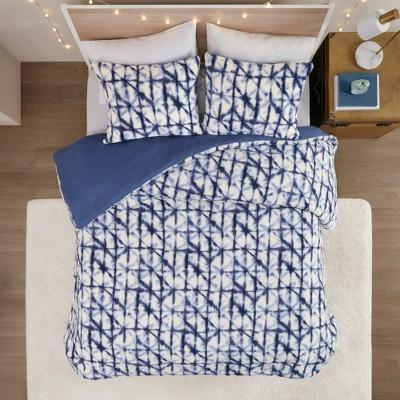 Full/Queen Amina Berber Printed Duvet Cover Set Blue