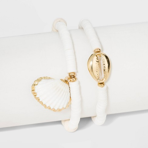 Shell Stretch Beaded Bracelet Set - A New Day™ Gold/White - image 1 of 1