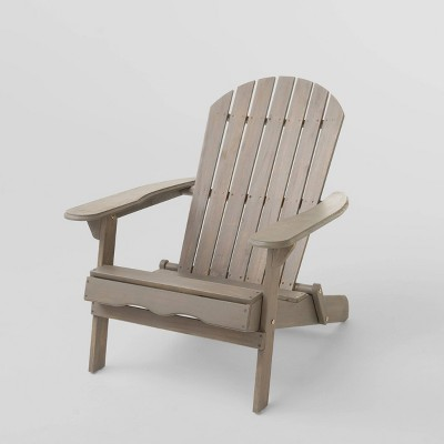Hanlee Folding Wood Adirondack Chair - Gray Finish - Christopher Knight Home
