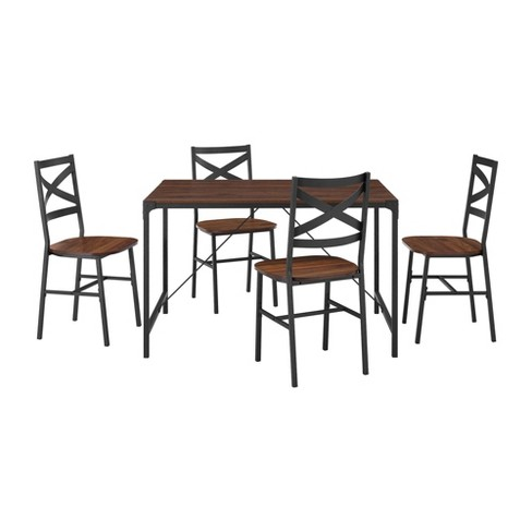 5pc Angle Iron Dining Set with Back Chairs - Saracina Home - image 1 of 4