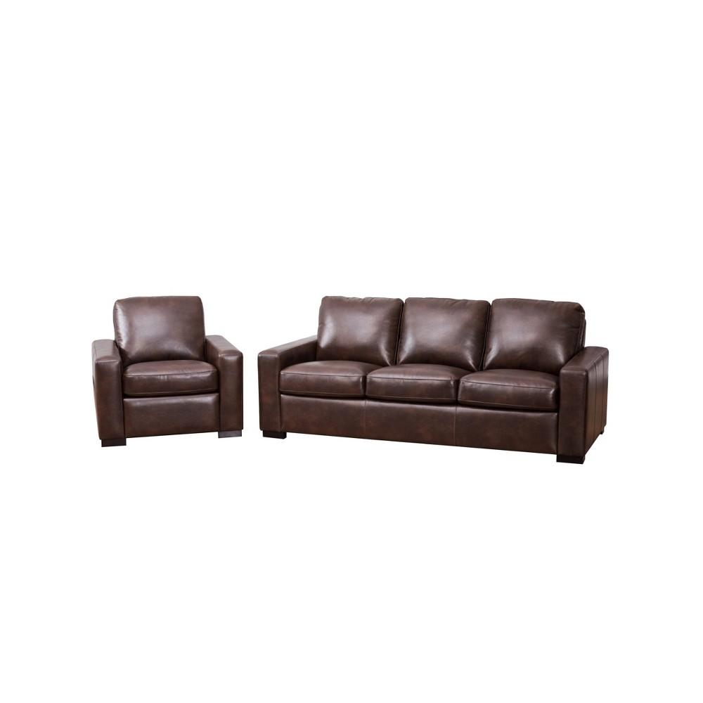 Image of 2pc Churchill Sofa & Loveseat Set Brown - Abbyson Living