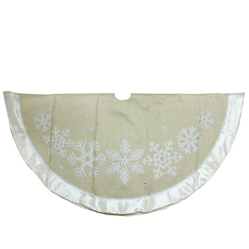 Northlight 48 Metallic Gold And Silver Snowflake With Satin Border Linen Christmas Tree Skirt
