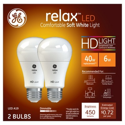 Relax soft white hd 40watt equivalent a19 LED 2pk