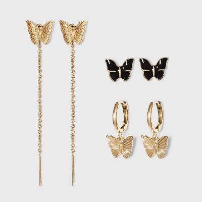 SUGARFIX by BaubleBar Butterfly Earring Set - Gold