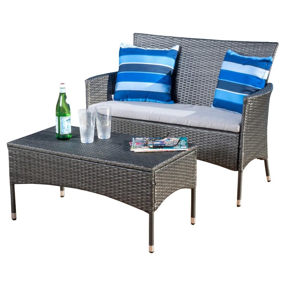 Malta 2pc Wicker Outdoor Seating Set - Multi-Gray - Christopher Knight Home, Gray