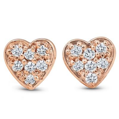 Pompeii3 14K Rose Gold Diamond Pave Petite Heart Studs Dainty High Polished 5.7MM