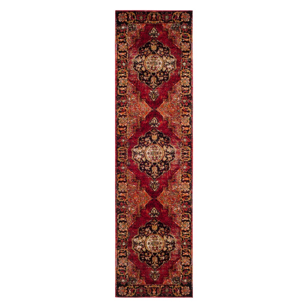 Medallion Loomed Runner Red