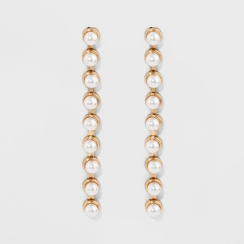 Linear Drop Pearl Earrings A New Day Gold White